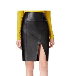 Guess Jagger Pencil Skirt Faux Leather Front Slit
